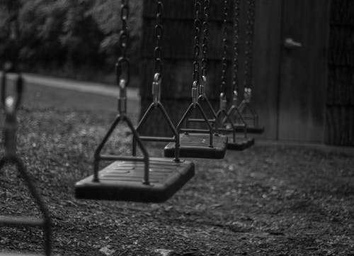Free stock photo of black and white, children, swing, swinging