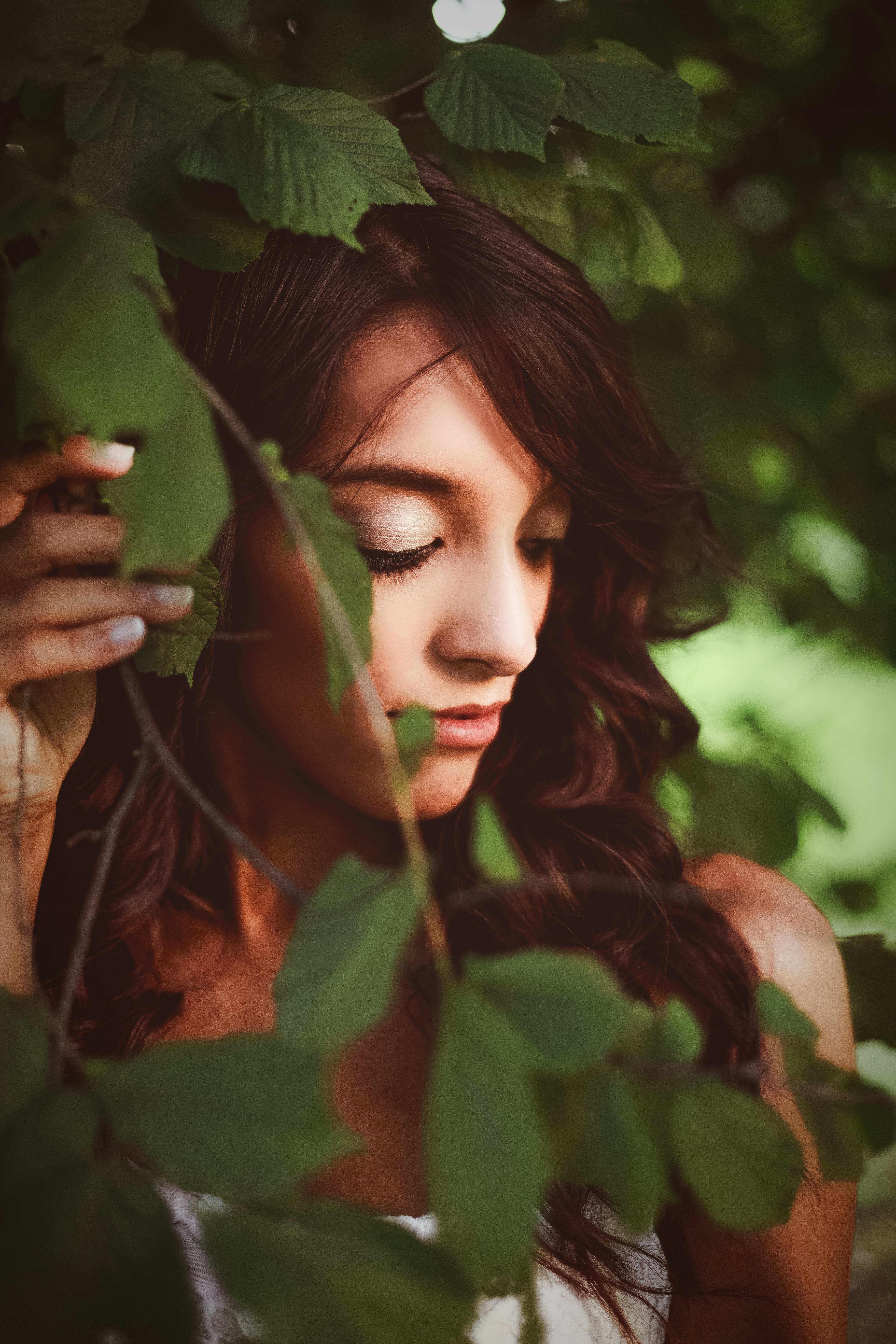 Selective Focus Of Woman Under Tree