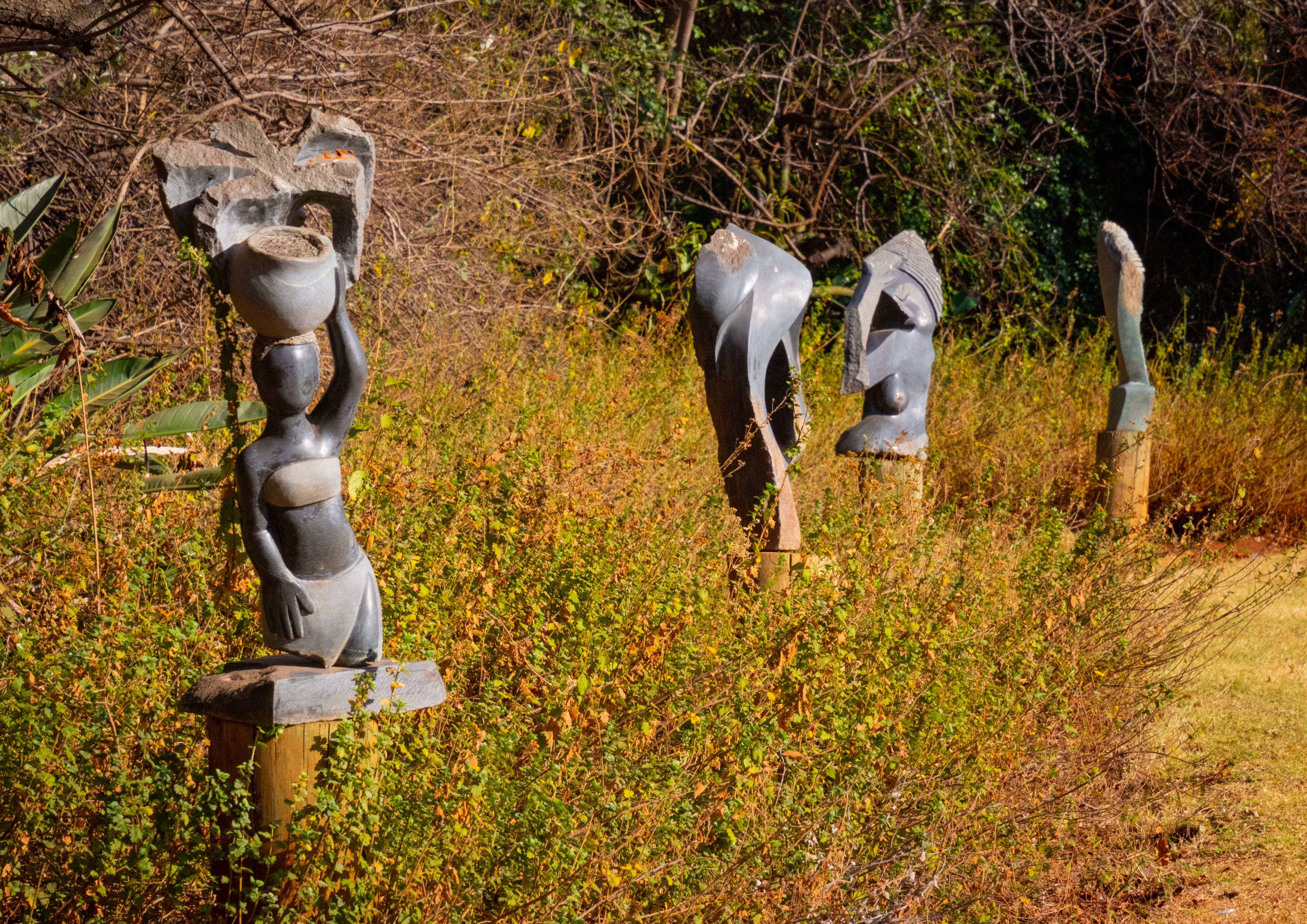 Free stock photo of nature, grass, blue sky, statues