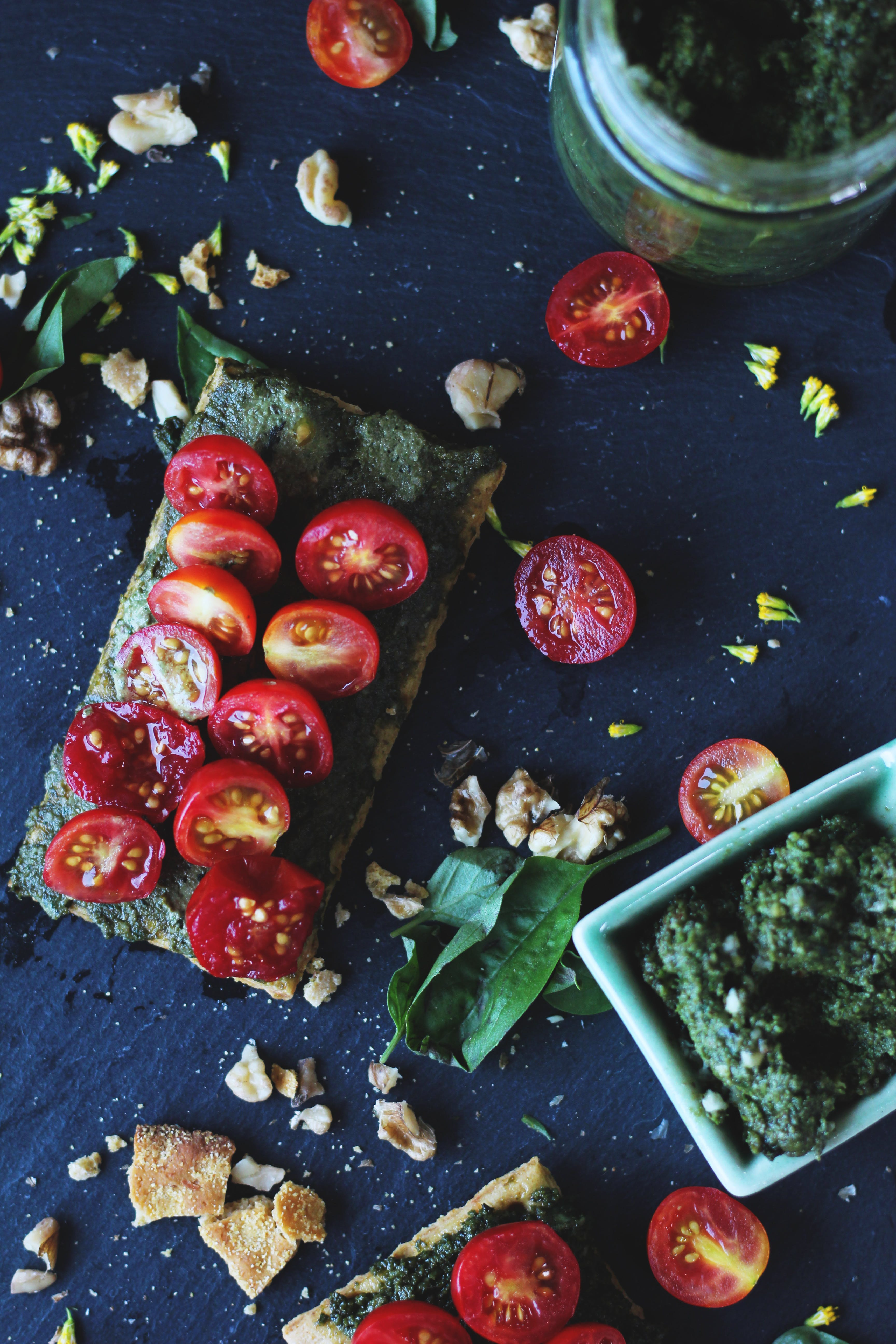 Sliced Tomatoes and Herbs