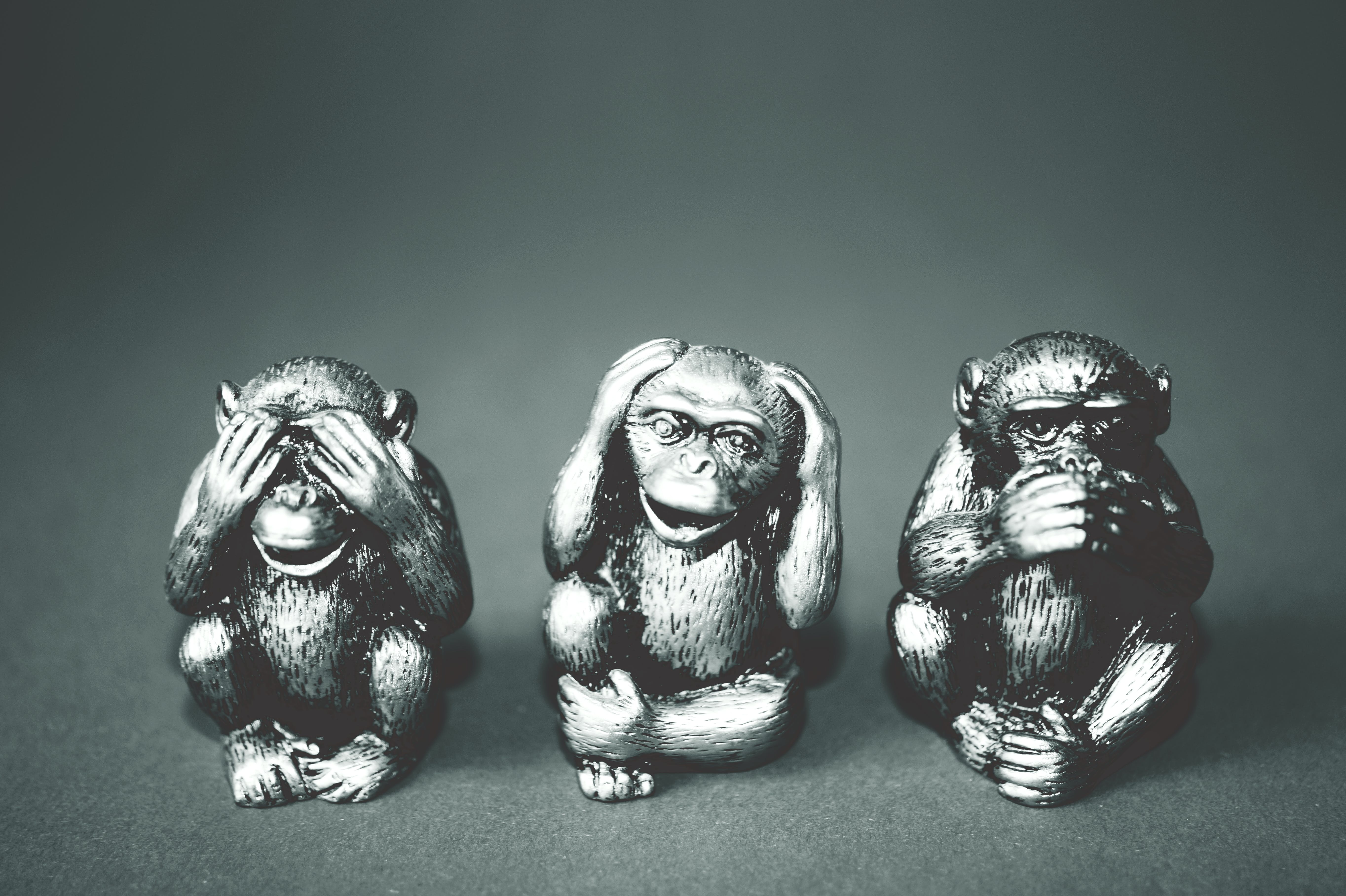 Grayscale Photography of Three Wise Monkey Figurines