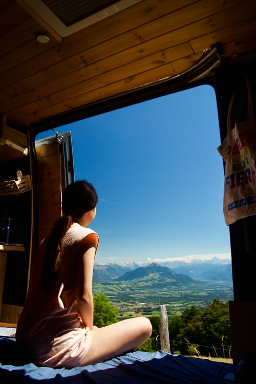 Free stock photo of alps, campervan, camping, france