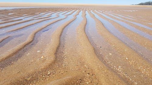 Free stock photo of beach, Beach Ripples, Beige sand, blue sky