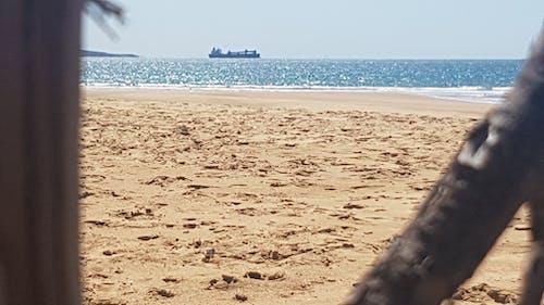Free stock photo of beach, Blue ocean, cargo ship, driftwood