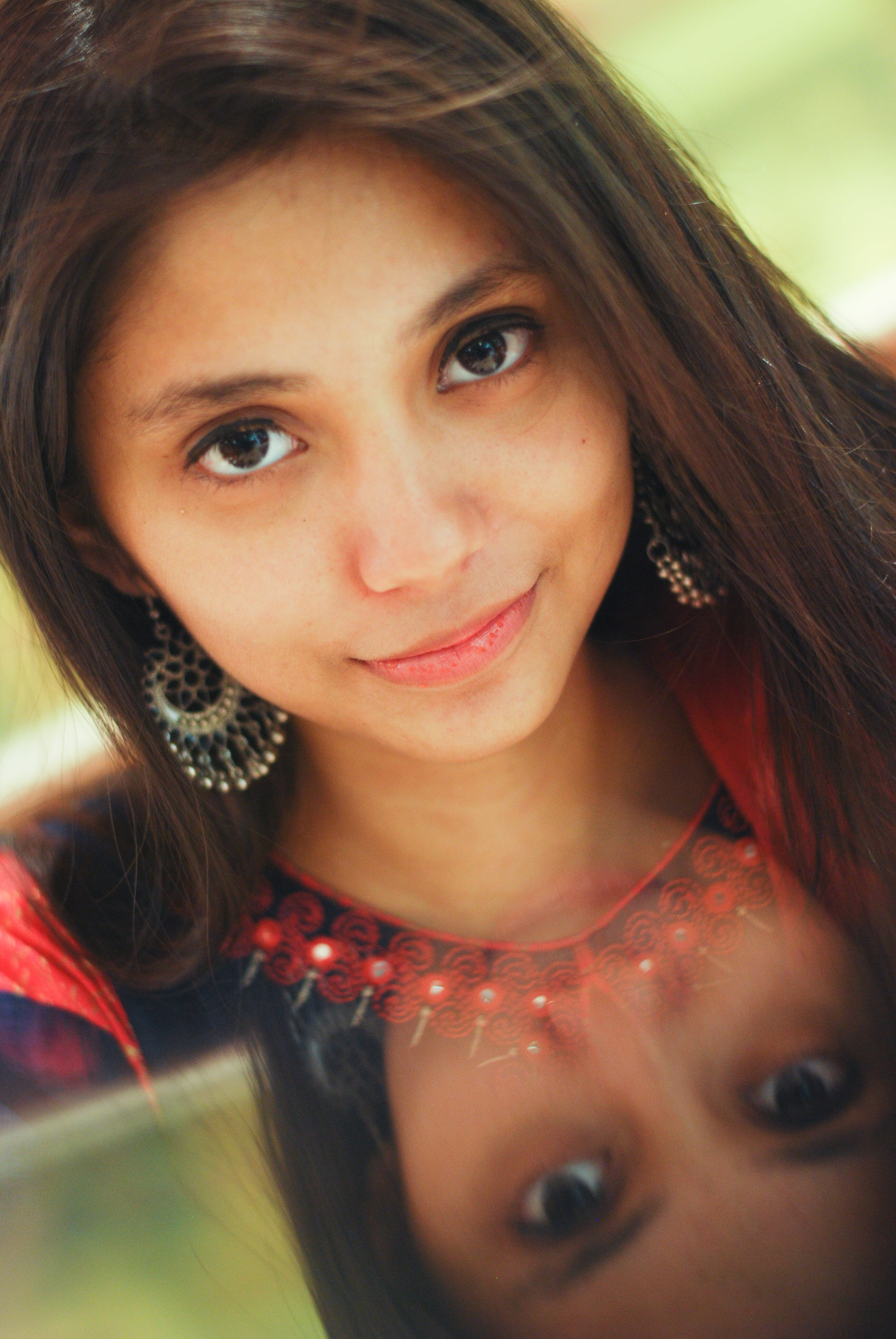 Free stock photo of beautiful eyes, indian girl, reflection, traditional wear