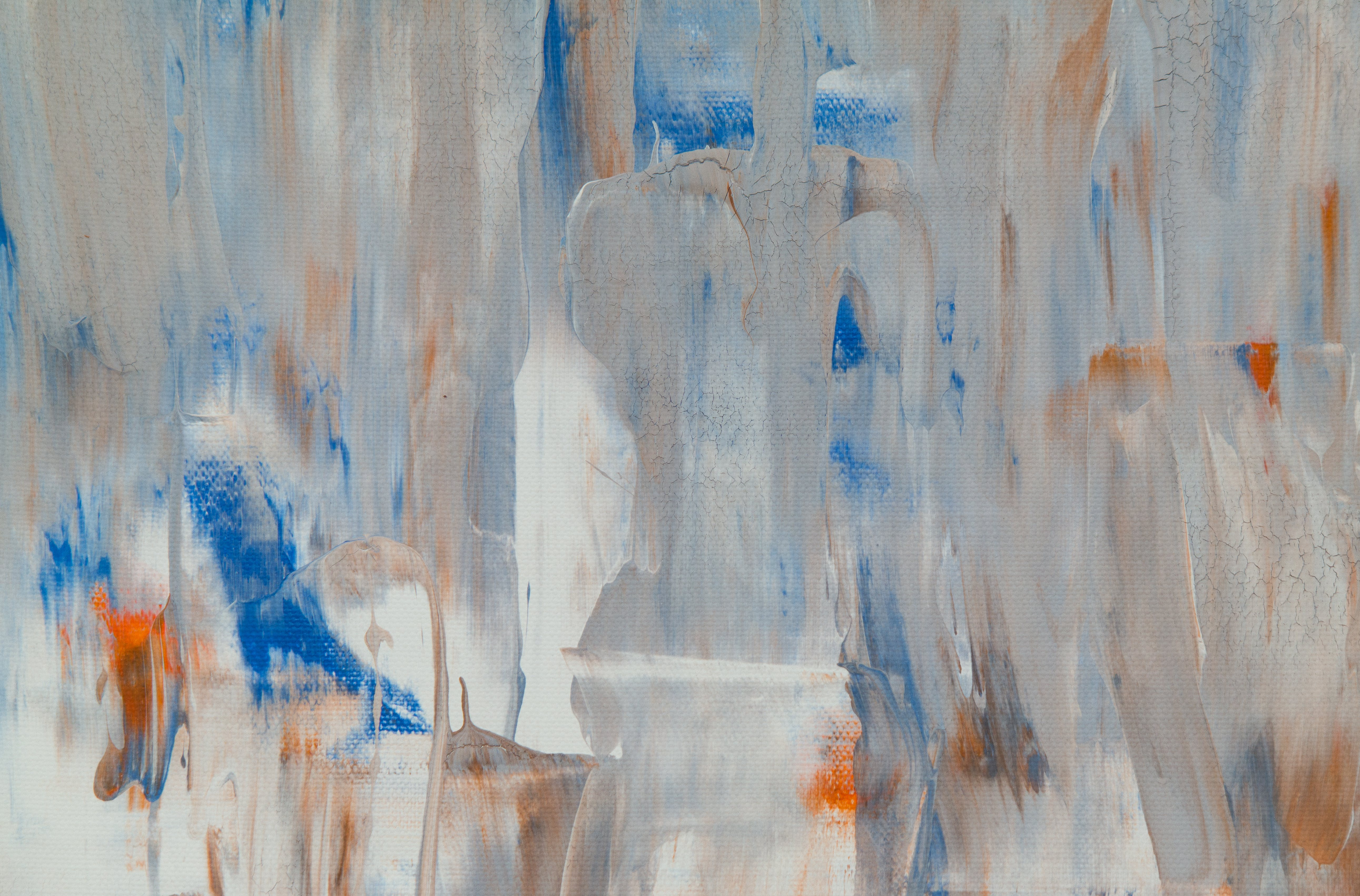 White, Blue, and Orange Abstract Painting