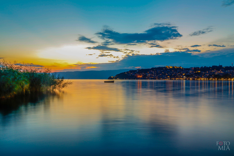 Free stock photo of blue sky, city, lake, night city