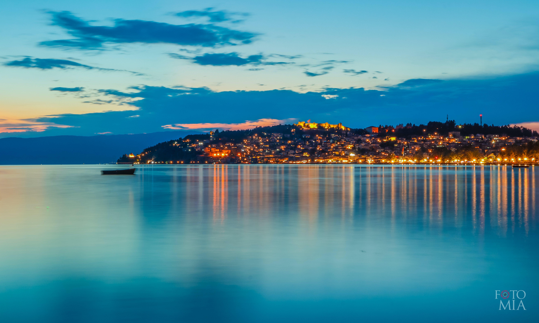 Free stock photo of lake, night view, ohrid, panorama