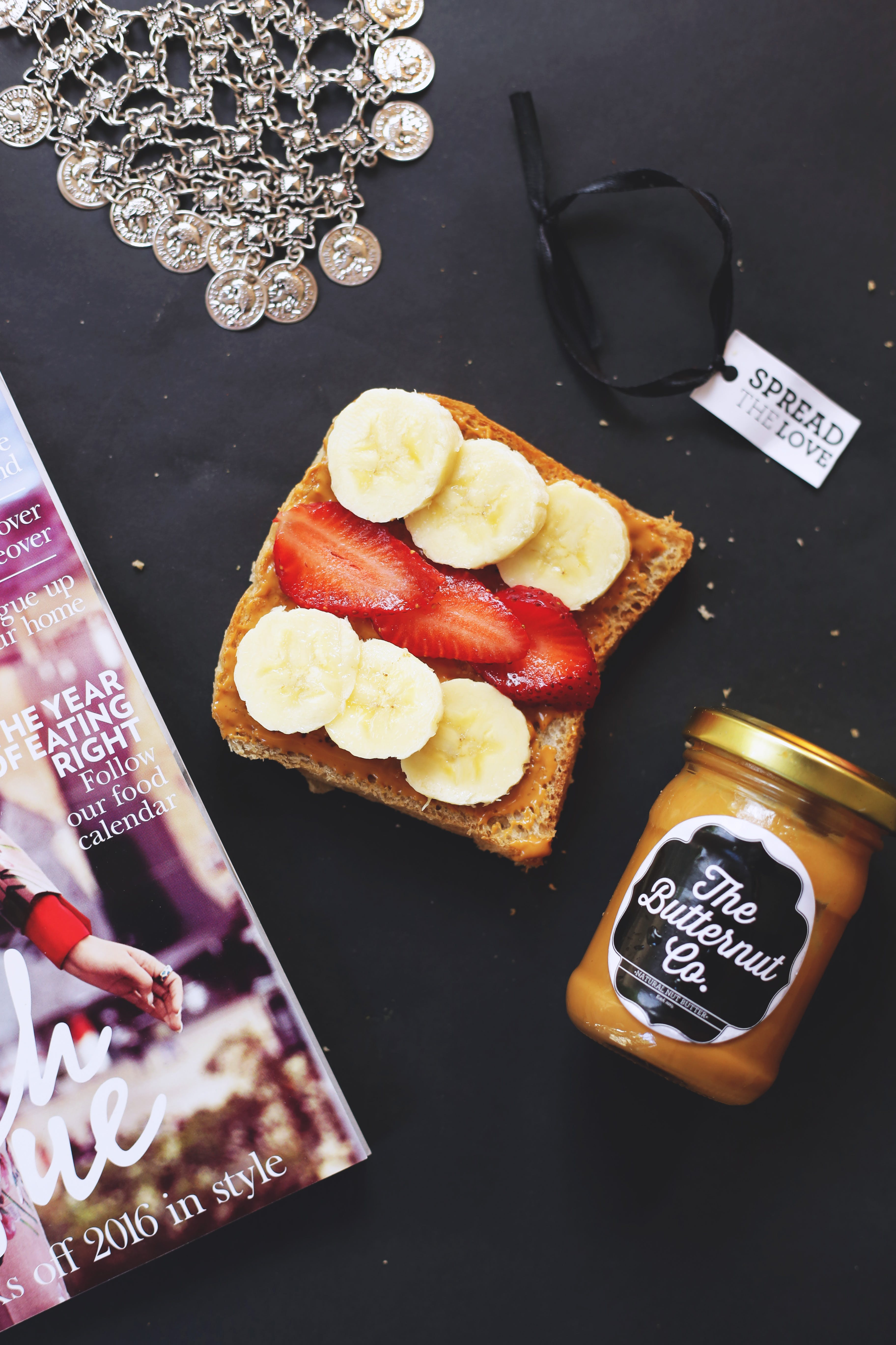 Peanut Butter, Banana, and Strawberry On Sliced Bread