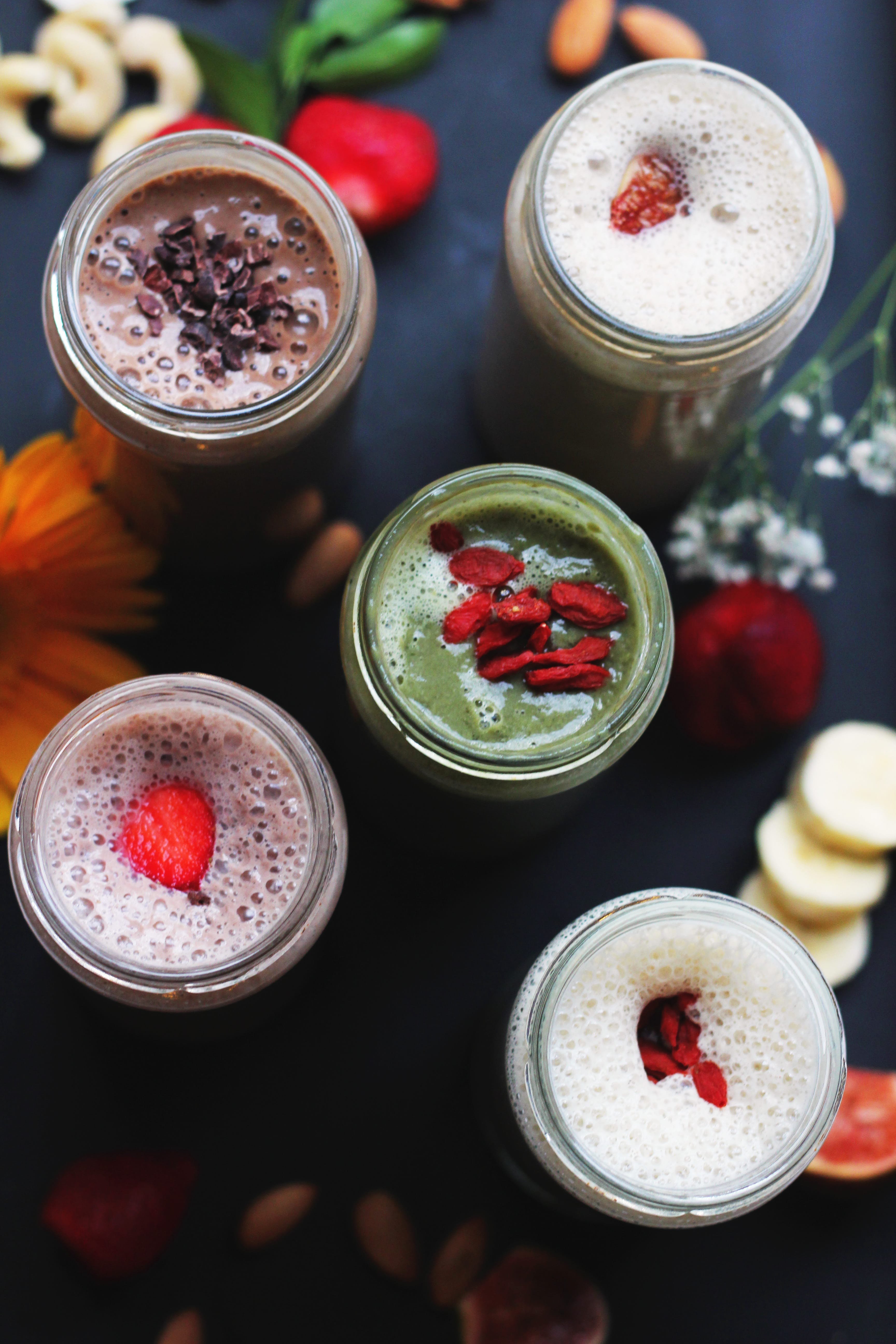 Five Assorted-flavor Milkshakes in Glass Jars
