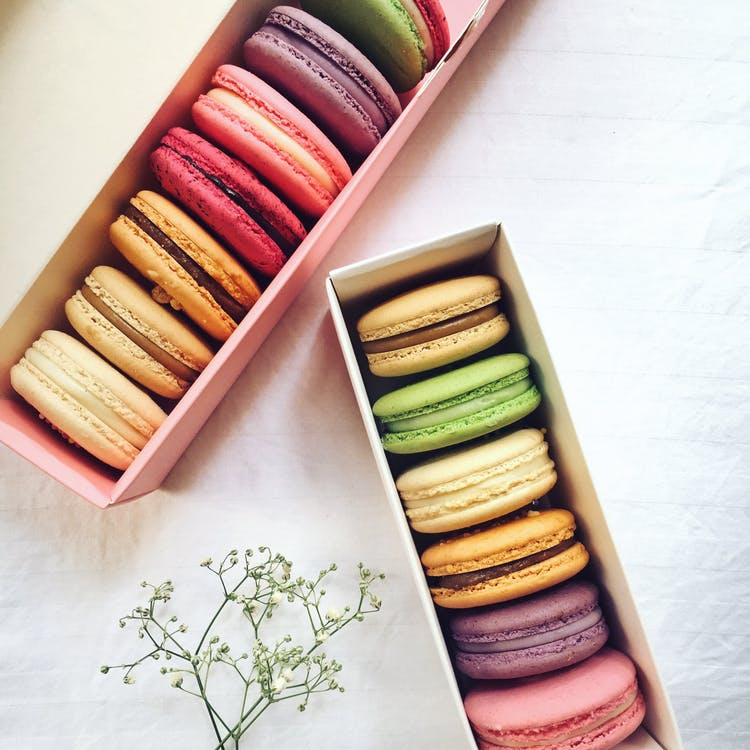 Assorted Flavored French Macaroons In Cardboard Boxes