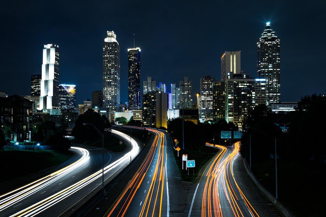 bangunan, cityscape, garis-garis cahaya