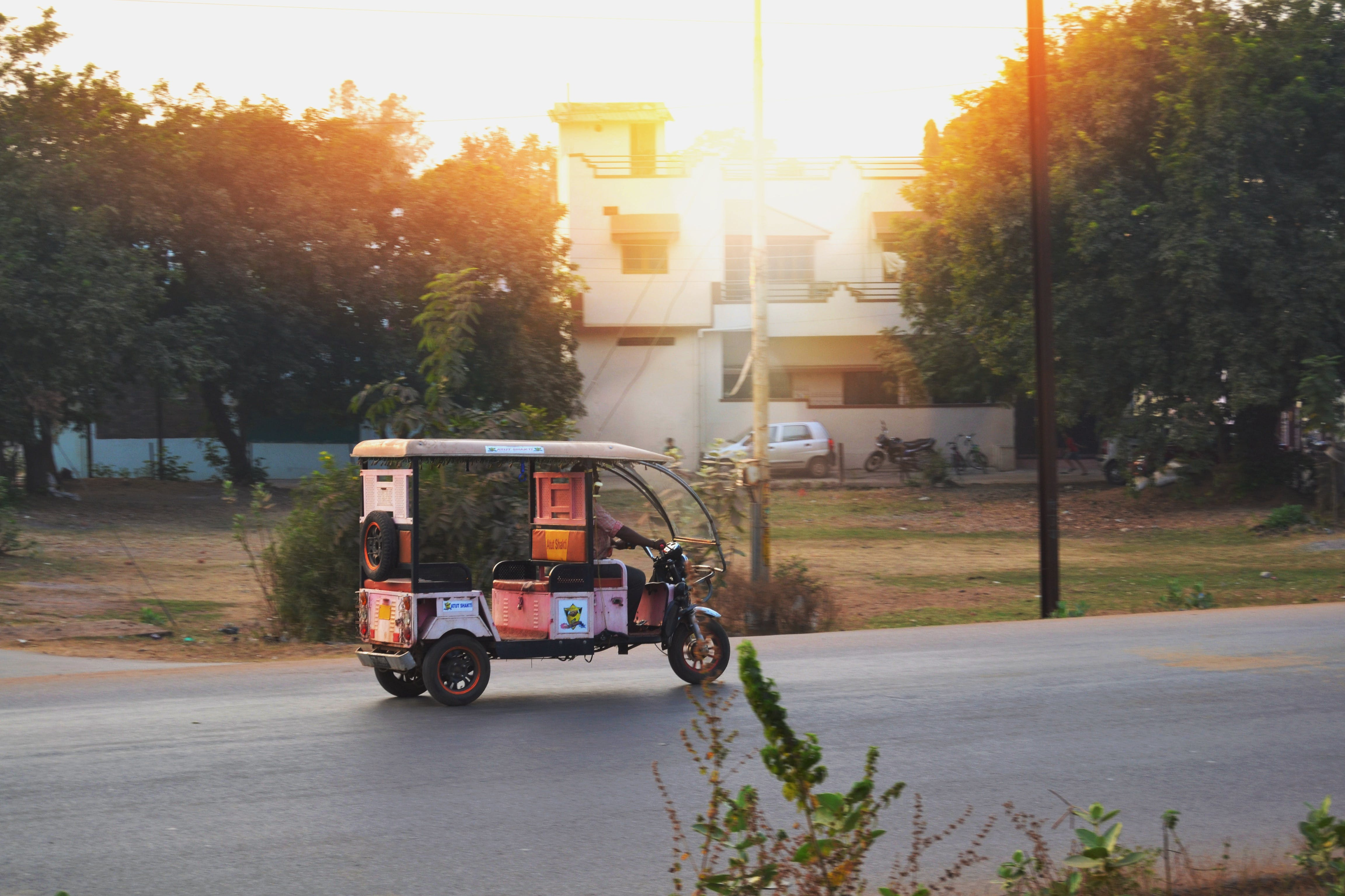 advertisement, atmospheric evening, auto rickshaw