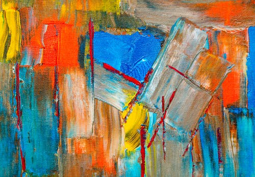 Red, Orange, and Yellow Abstract Painting
