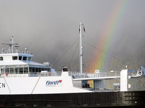 Free stock photo of ferry, fjord, norway, rainbow