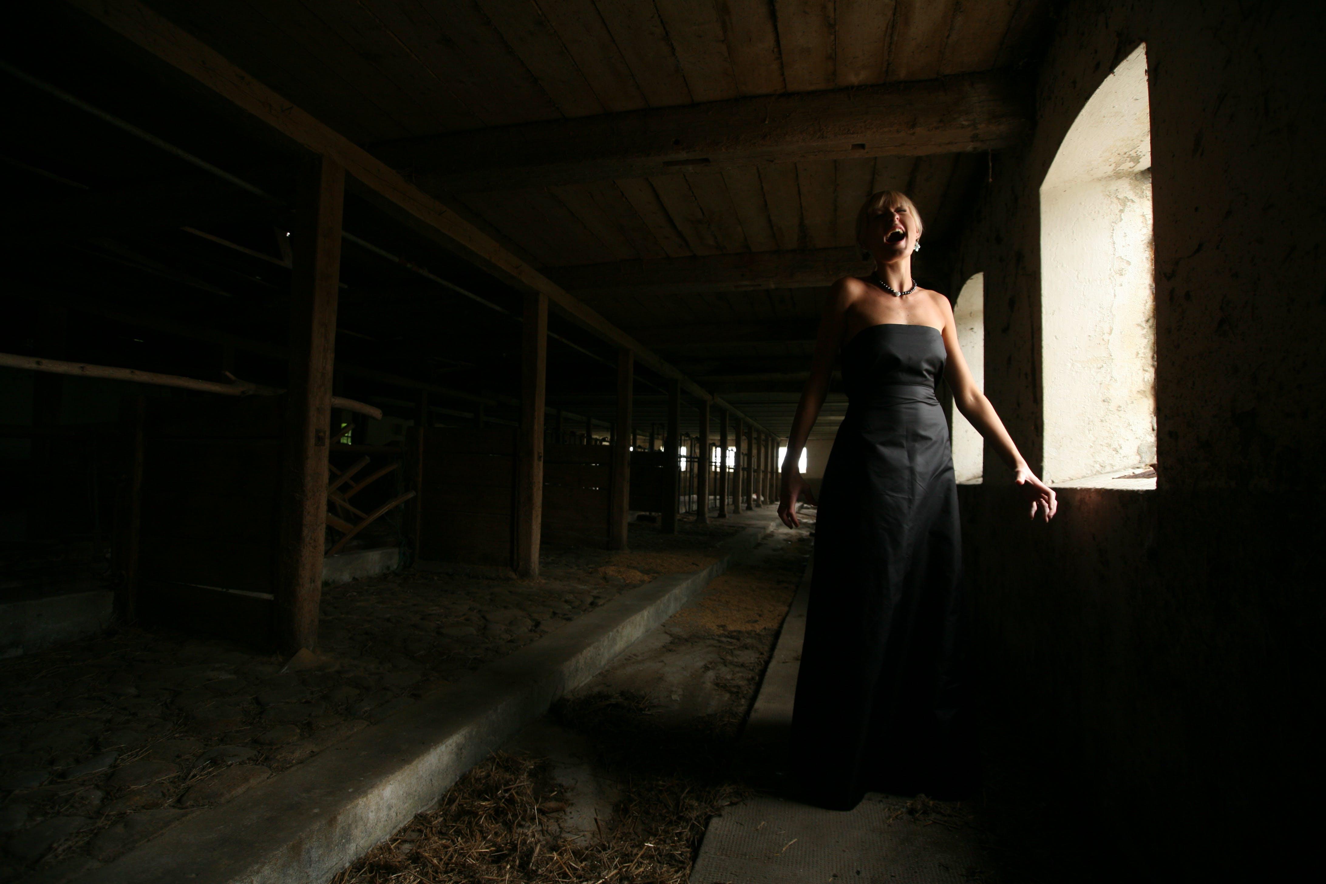Woman Wearing Black Strapless Dress Standing Near the Window