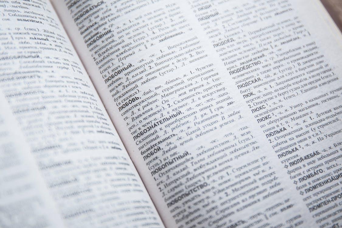 знания, словарь, страница