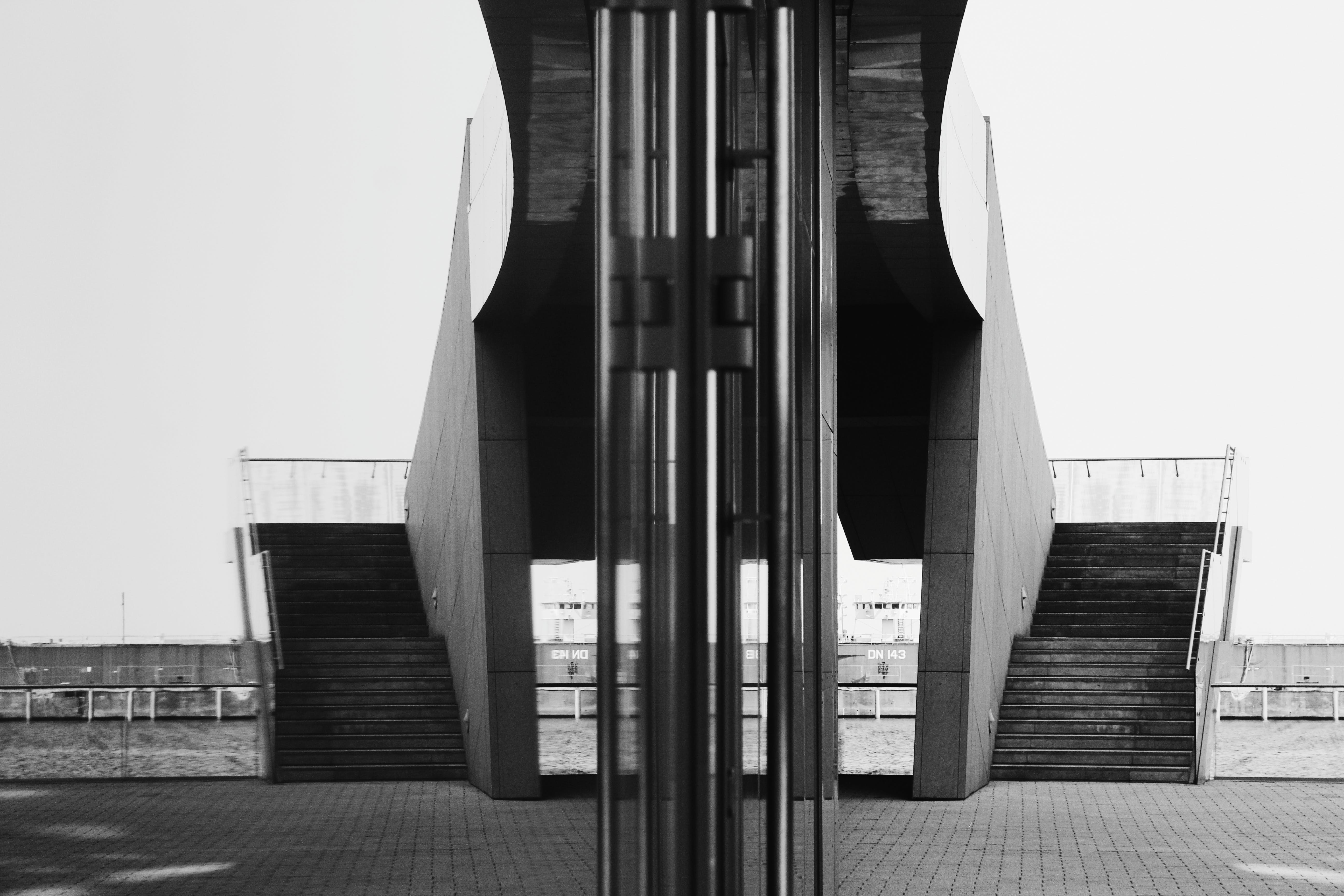 Grayscale Photo of Building Taken