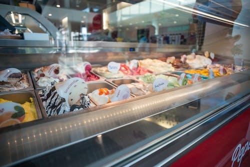 Assorted-flavor of Ice Creams Inside Deep Freezer