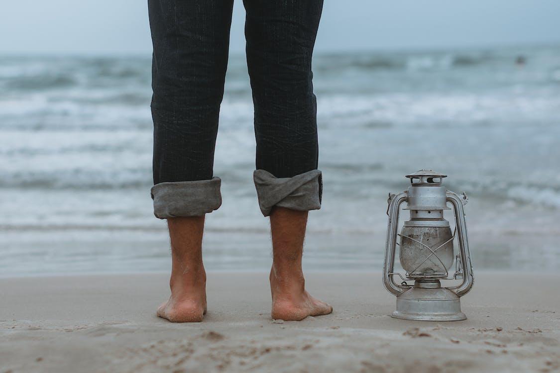 avslappning, blått vatten, fötter