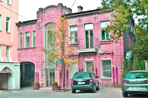 Foto d'estoc gratuïta de arbre, casa rosada, color, colorit