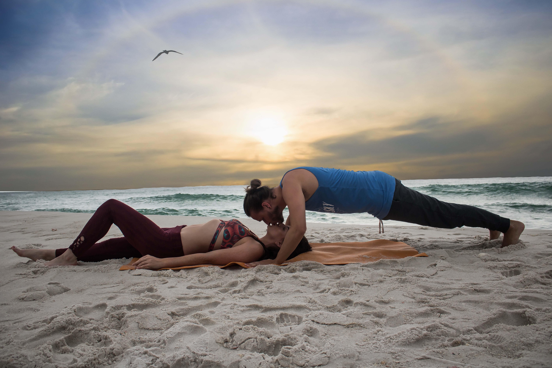 beach, couple, exercise