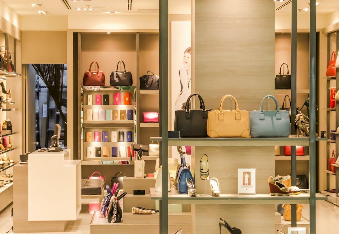 Assorted-color Leather Bag Display Inside Room