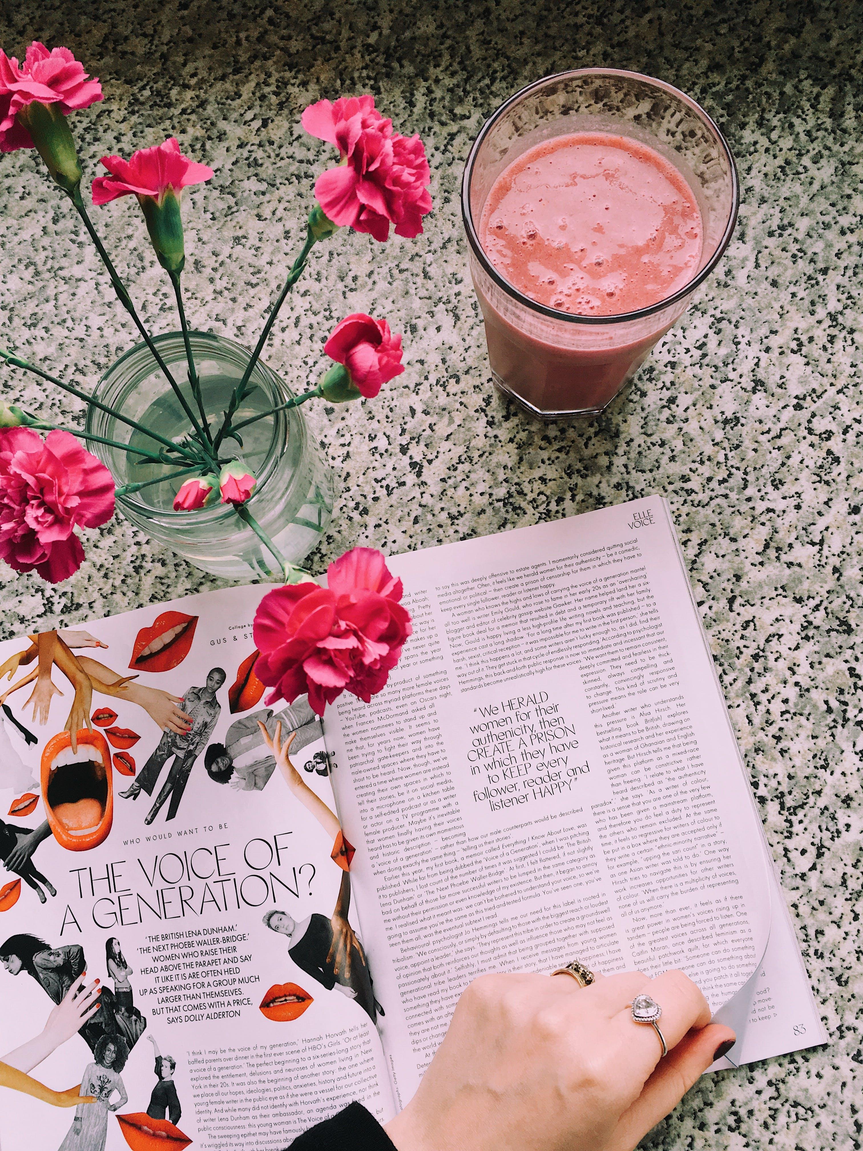 꽃, 꽃병, 독서하는, 매거진의 무료 스톡 사진