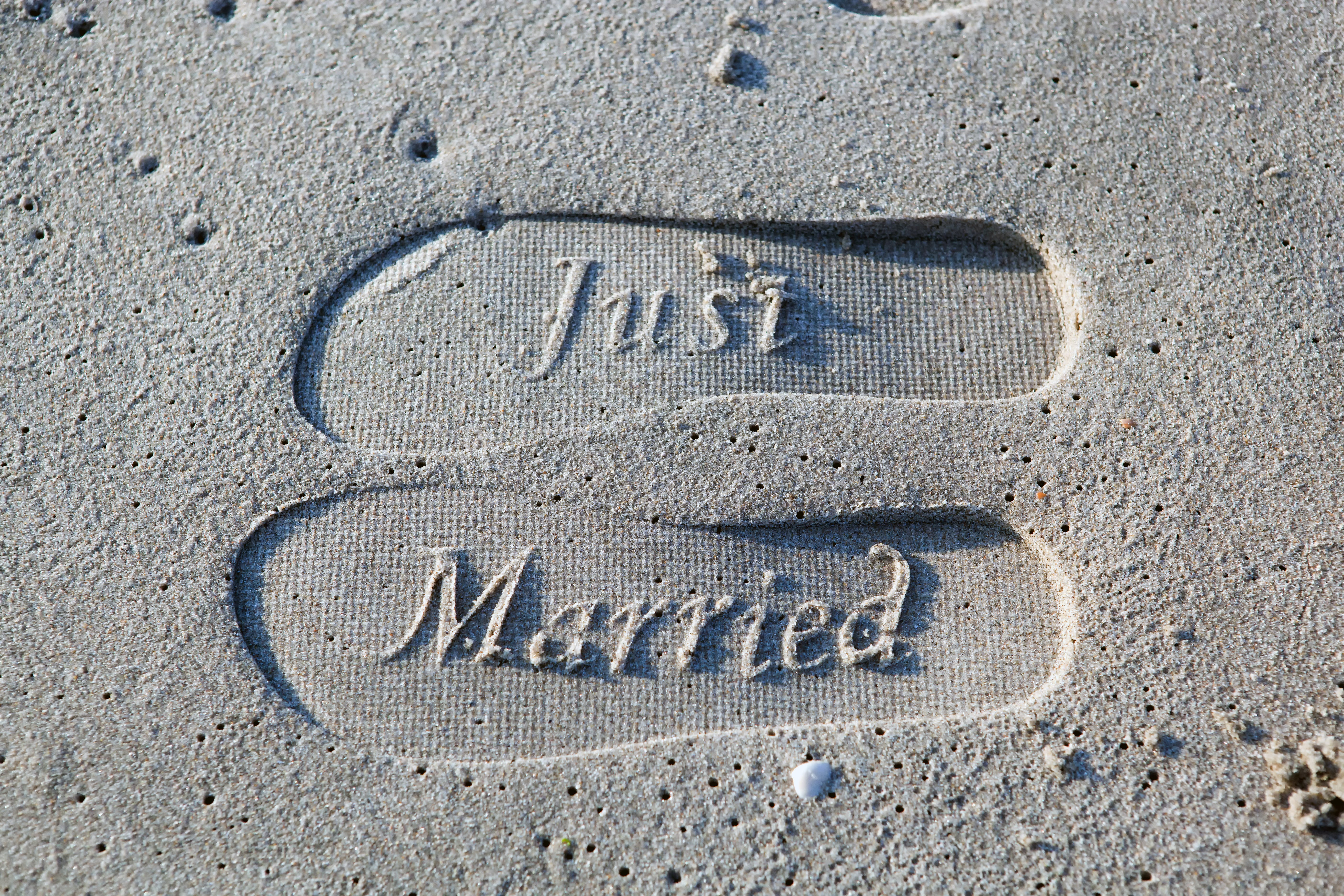 Just Married Foot Prints On Sand