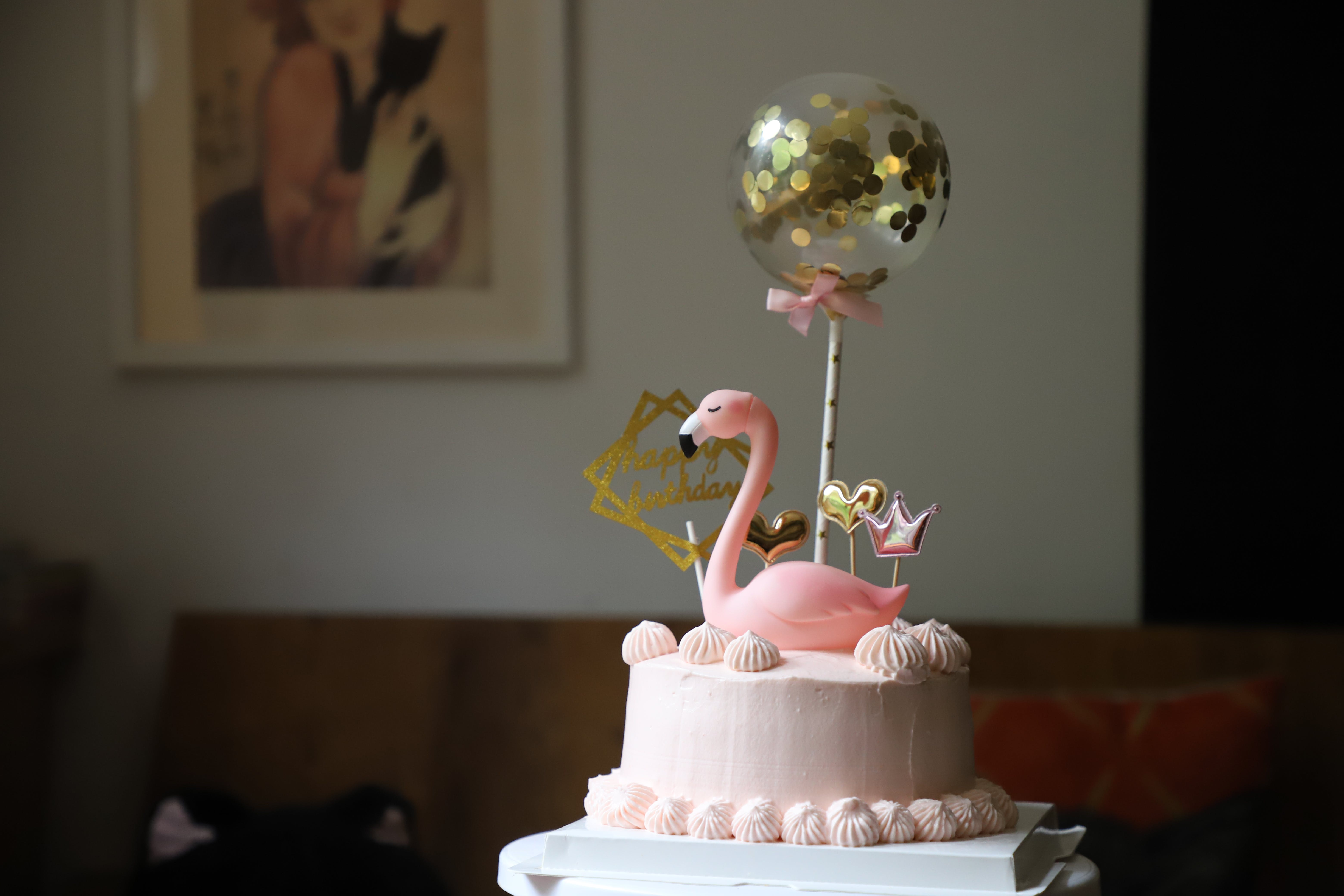 Pink Flamingo On Top Of A Cake