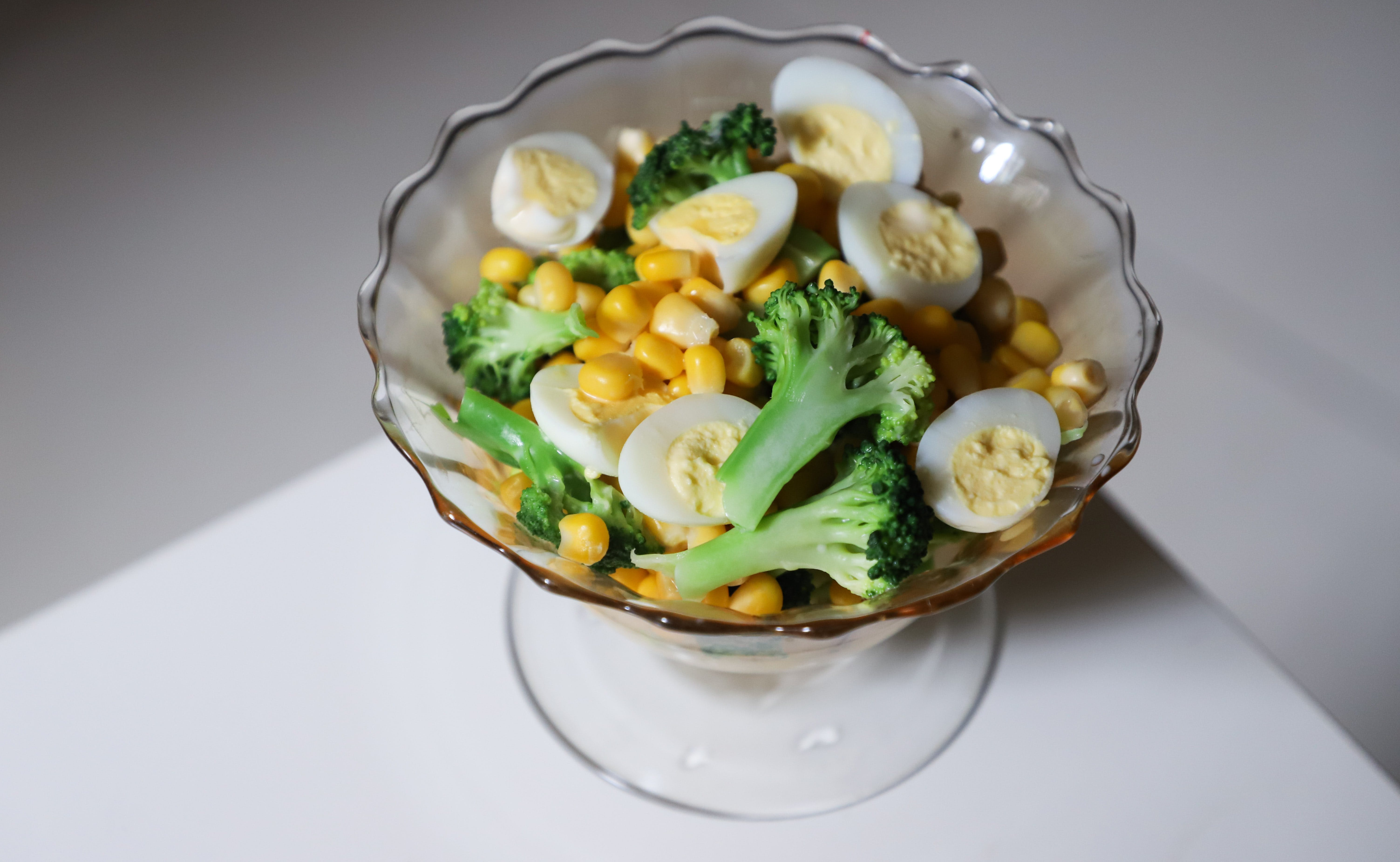 Sliced Broccoli, Corn, And Eggs