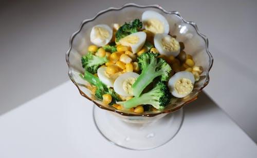 Sliced Broccoli, Corn, And Eggs