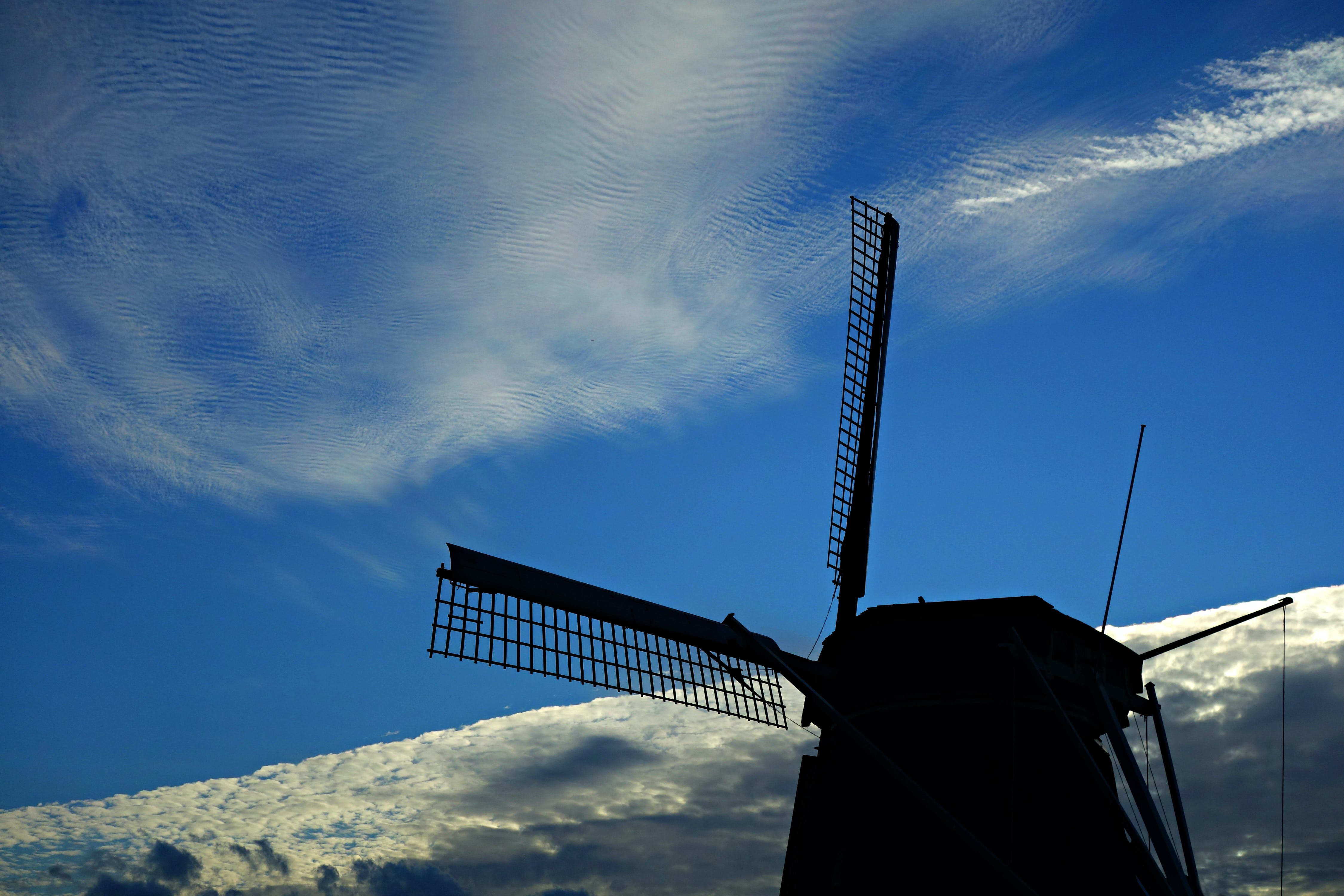 of Holland, mill, sail, silhouette