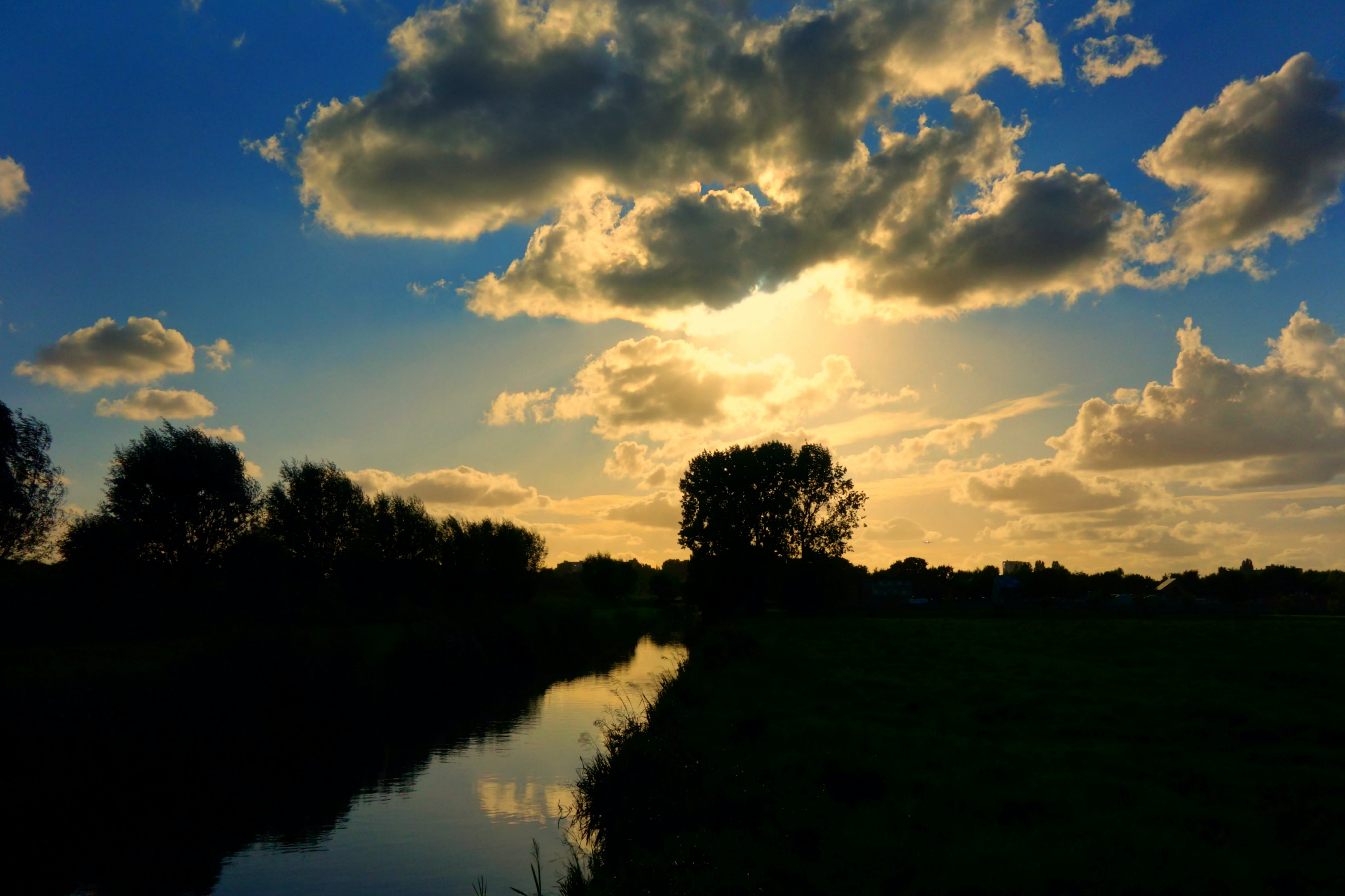 of clouds, Holland, landscape, silhouette
