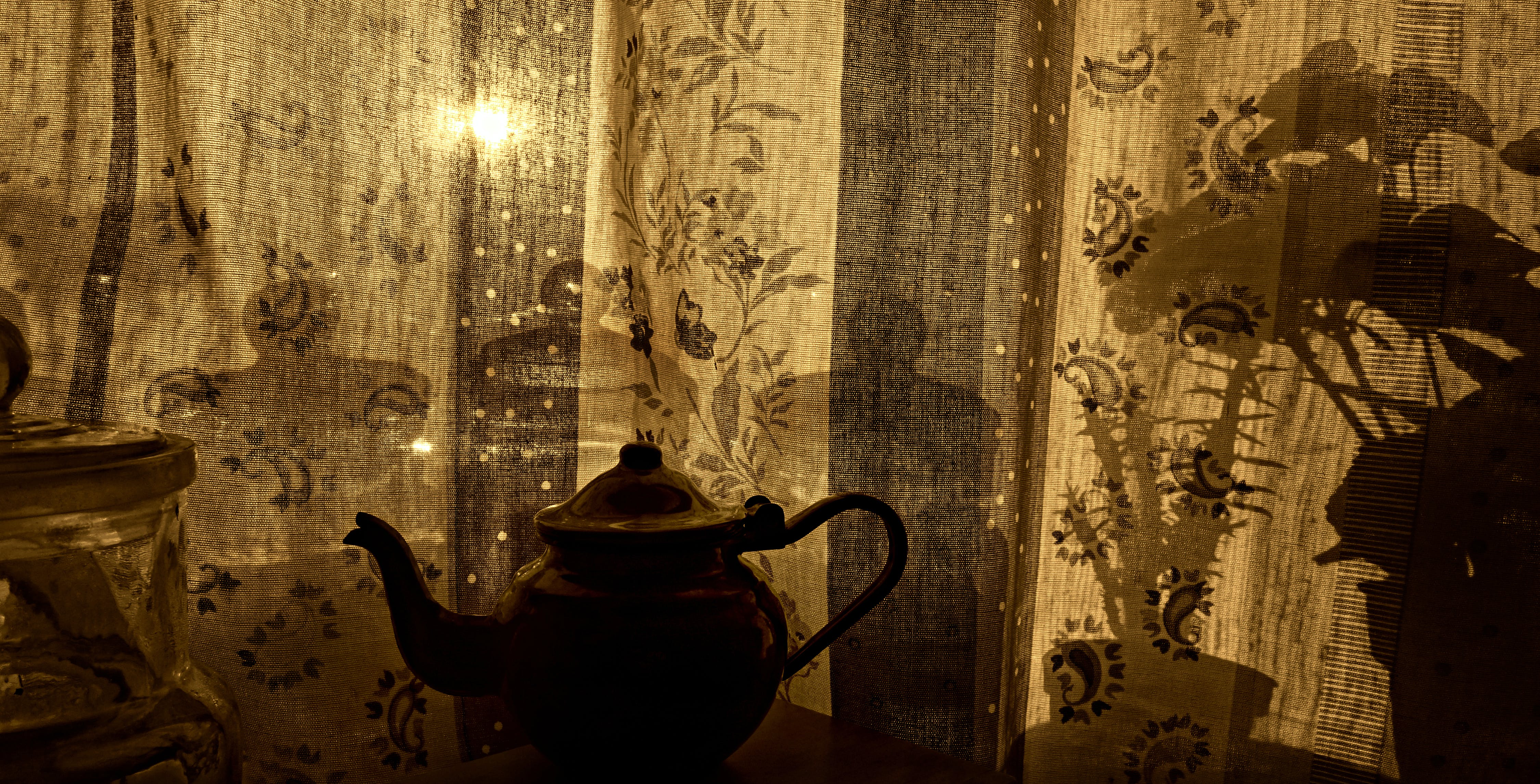 of curtain, objects, silhouette, sunlight