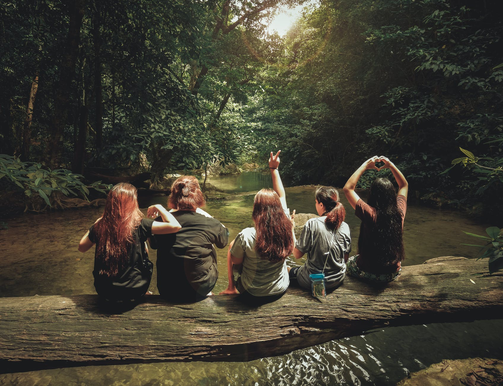 Five girls sitting on a tree trunk