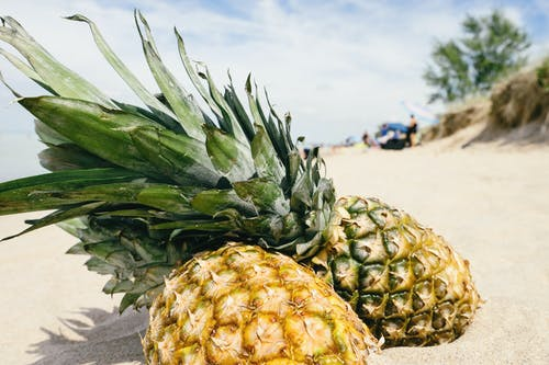 Yellow Pineapples on Sand