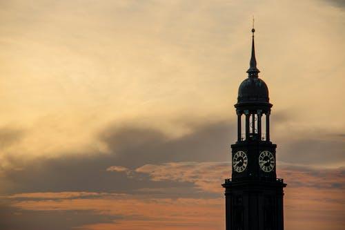 Foto stok gratis gereja, matahari, matahari terbenam, menara Jam