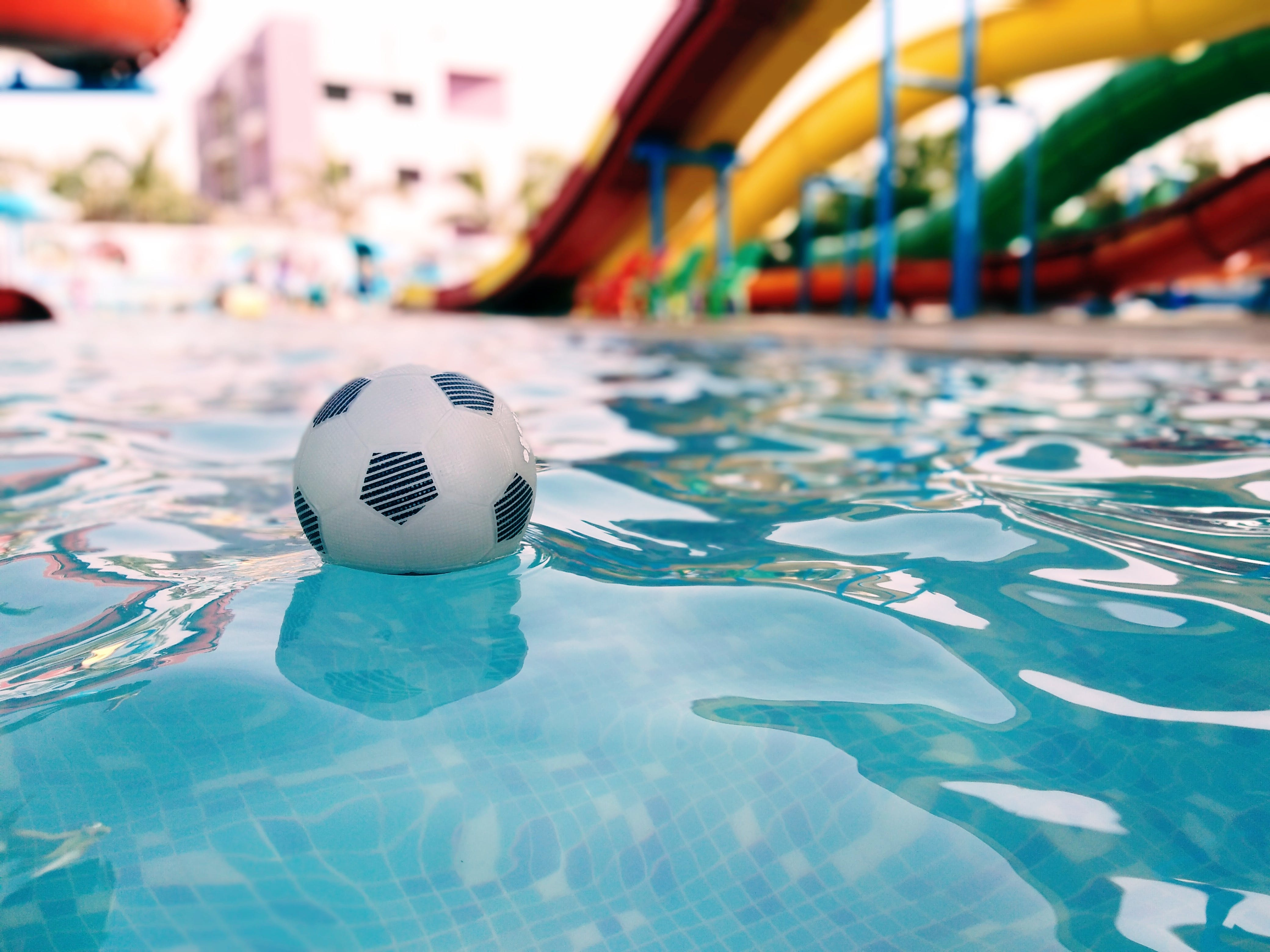 Soccer Ball On Swimming Pool