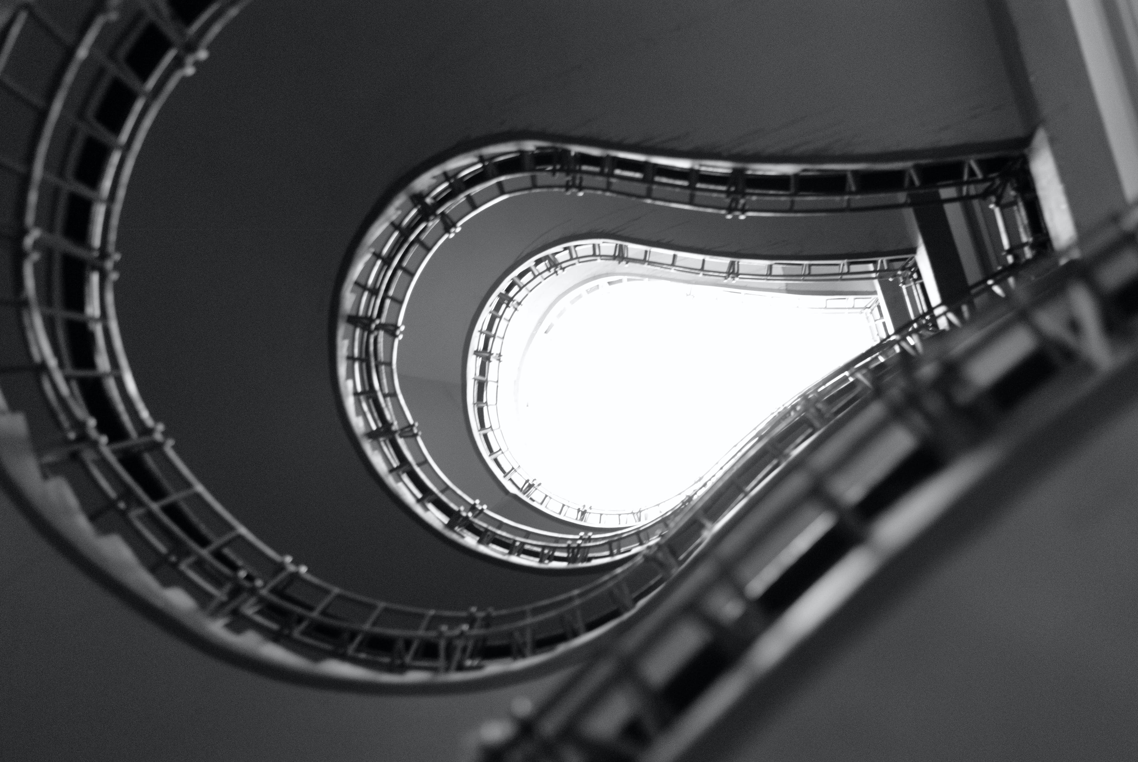 Grayscale Photography of Stairs