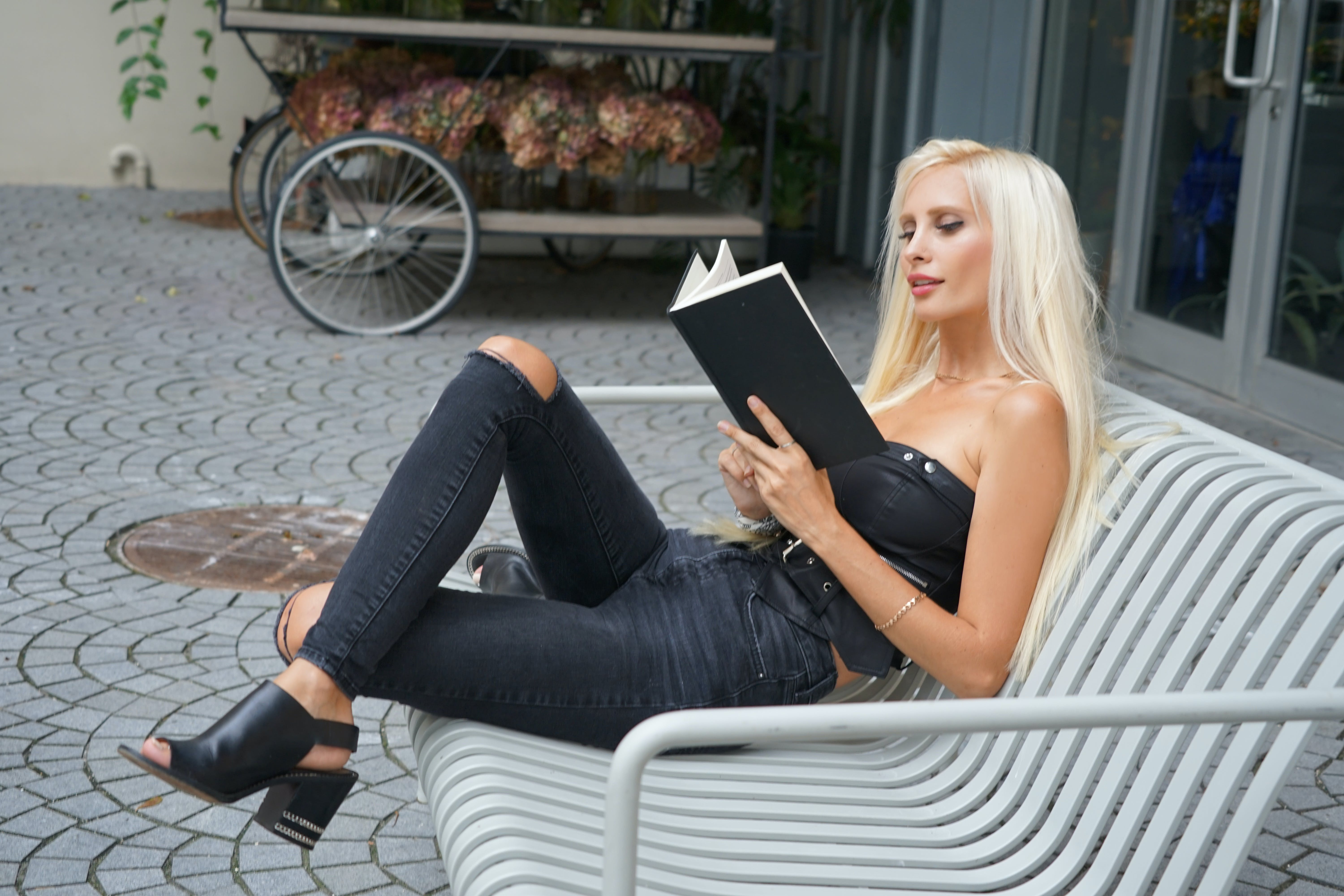 Free stock photo of black clothes, girl reading, poems, read