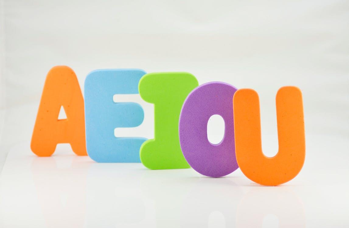 A E I O U, abcs, color letters