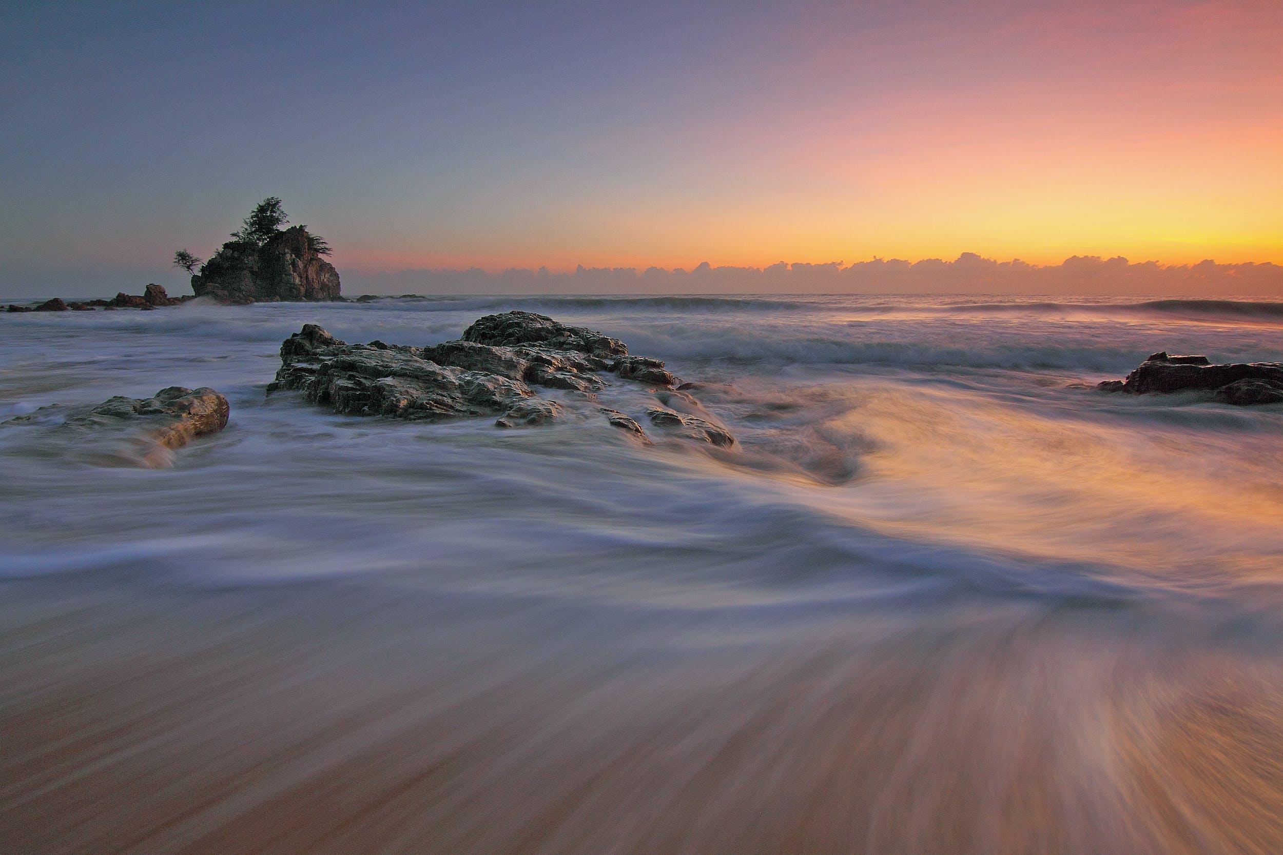Ingyenes stockfotó ég, hajnal, homok, hullám témában