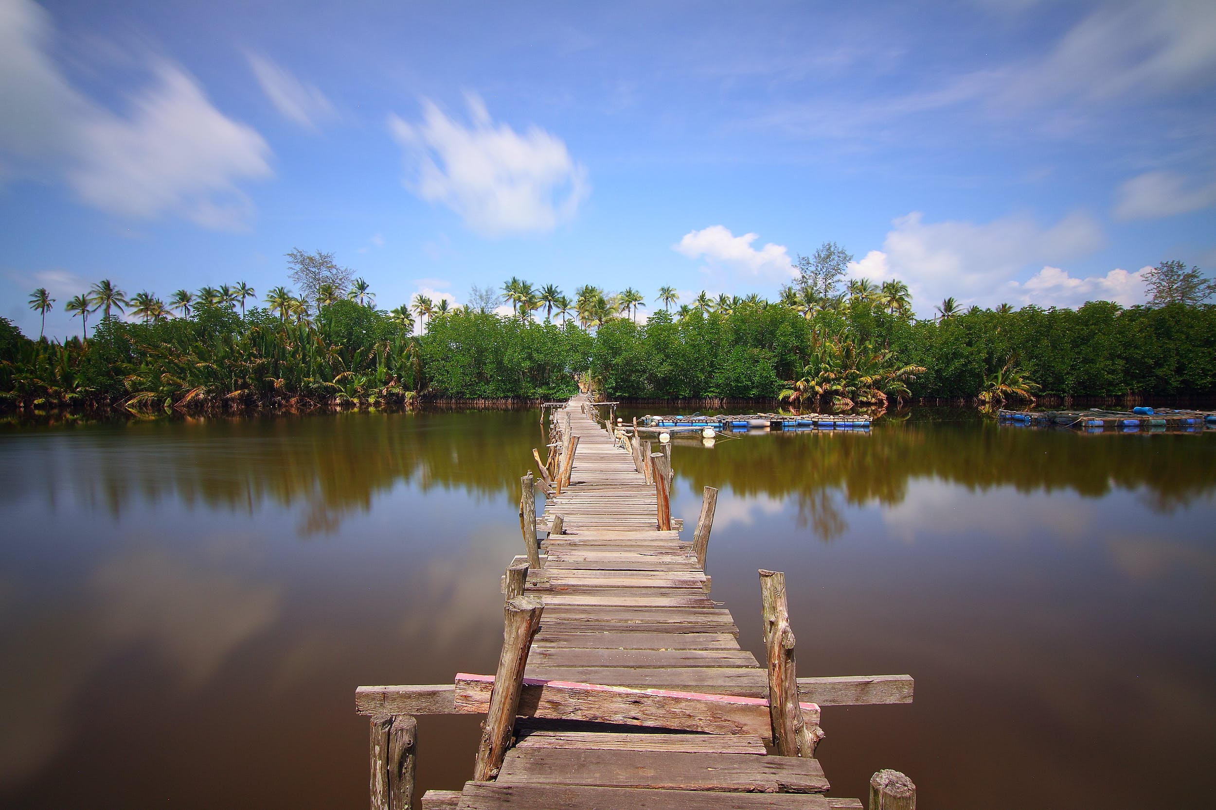 bridge, lake, outdoors