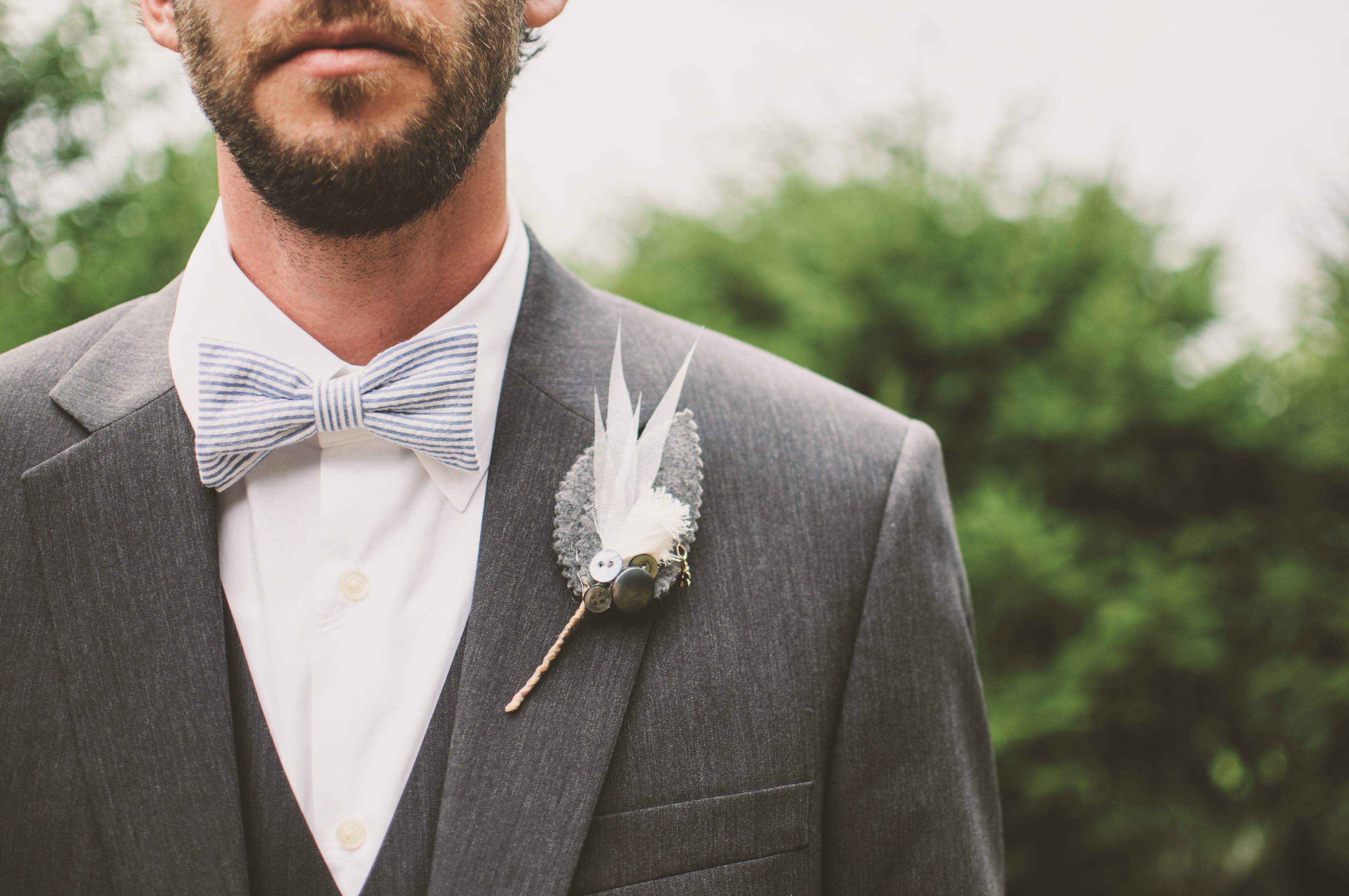 Man Wearing Gray and White Tuxedo