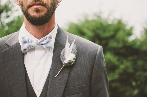 Man Wearing Gray and White Tuxedo