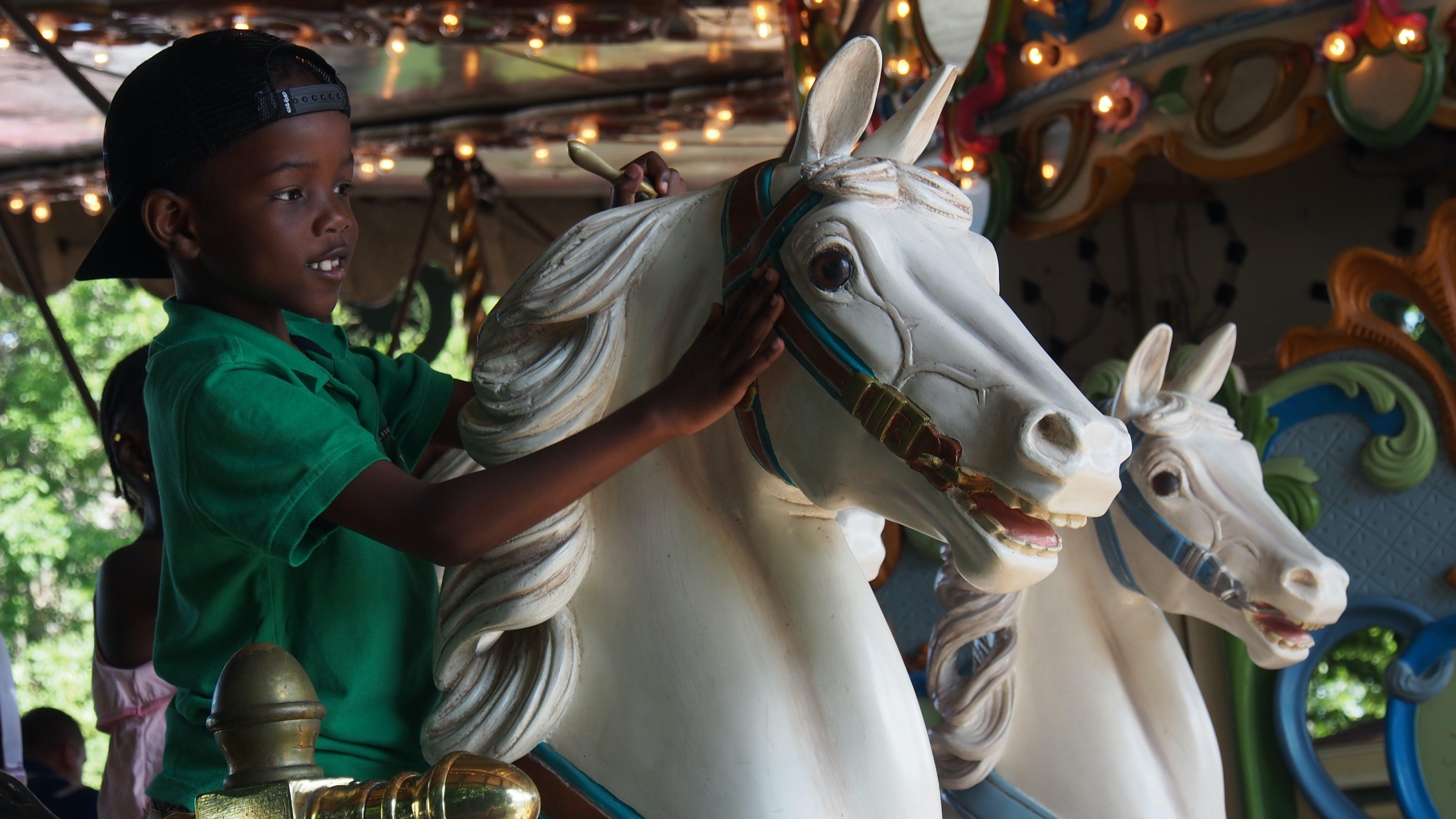 Boy Wearing Green Polo Shirt Riding Carousel