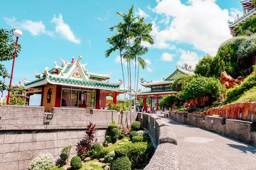 Pagoda Near Tall Trees Under Blue Sky