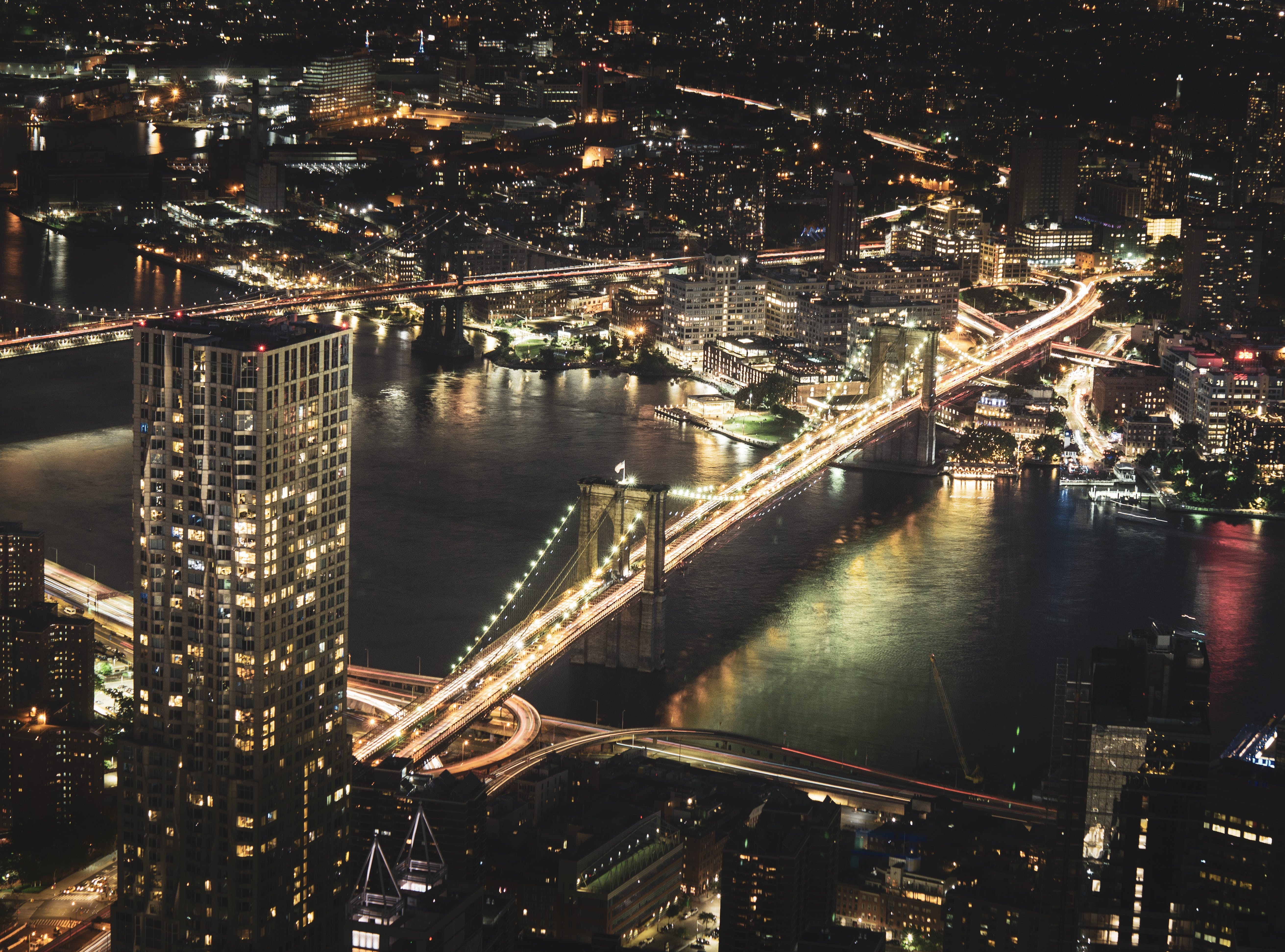 Aerial Photography of High Rise Buildings at Night Time