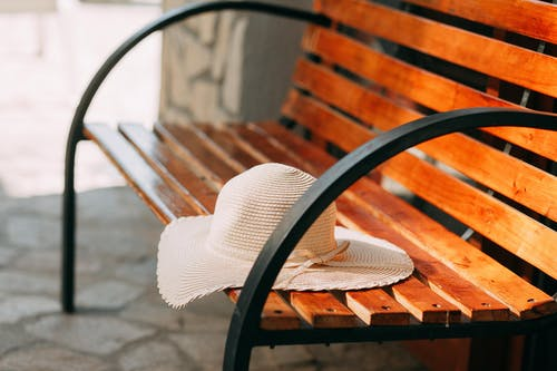 Brown Sun Hat on Bench